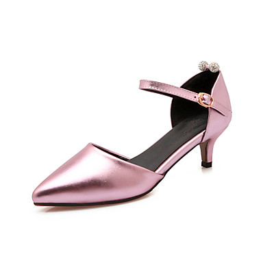 DamenBüro Lässig-Lackleder PU-Stöckelabsatz-Komfort-Rosa Silber Gold