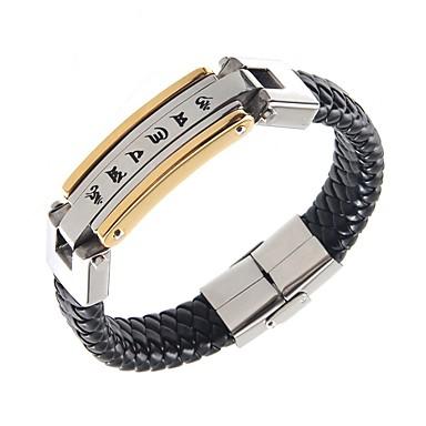 Homme Bracelets Rigides Mode Style Punk Européen Acier inoxydable Cuir Plaqué or Bijoux Pour Quotidien Décontracté 1pc