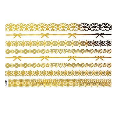 Stencils de Tatuagem TemporáriaTatuagens AdesivasFeminino Adulto- dePapel-Dourada-15*12*0.31