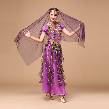 Werden wir Bauch Tanz Frauen Leistung Chiffon gefaltet / Pailletten 4 Stück Outfits
