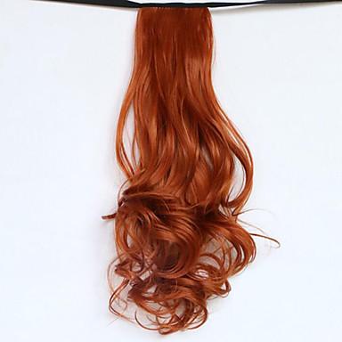 נתפס עם קליפס גלי מסולסל קוקו קשירה חתיכת שיער הַאֲרָכַת שֵׂעָר 20 inch אדום