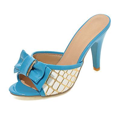 Damen Schuhe PU Frühling Sommer Stöckelabsatz Schleife Kariert für Draussen Kleid Rot Blau Rosa