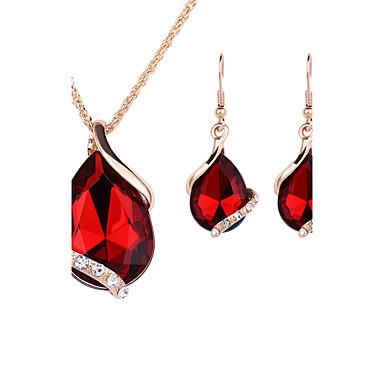 Damen Schmuckset Tropfen-Ohrringe Anhängerketten Halskette / Ohrringe Kristall Roségold Krystall Strass Aleación Tropfen Modisch Hochzeit