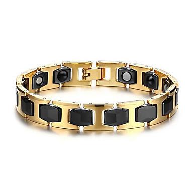 abordables Bracelet-Chaînes Bracelets Homme Acier inoxydable dames Européen Bracelet Bijoux Or / Noir pour Quotidien Décontracté
