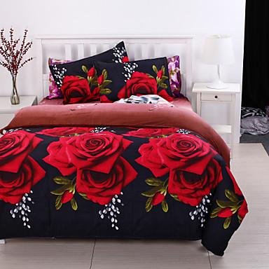 ensembles housse de couette 3d polyester coton imprim 4 pi ces 1 pi ces 1 housse de. Black Bedroom Furniture Sets. Home Design Ideas