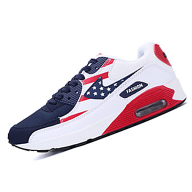 Damen Schuhe Tüll Frühling Sommer Herbst Komfort Flacher Absatz für Sportlich Weiß Rot Blau