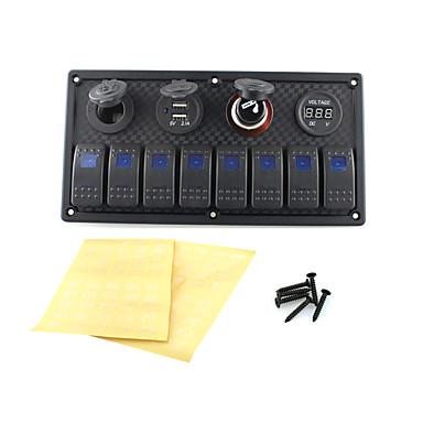 Iztor8p blaue Kunststoff-Panel-Lampen 5p on-off Wippschalter + Steckdose + USB-Auto-Ladegerät + Voltmeter