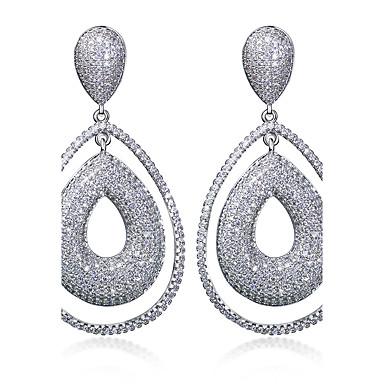 Boucles d'oreille goutte Zircon cubique Mode Zircon Cuivre Platiné Plaqué or Or Blanc Bijoux Pour Mariage Soirée Quotidien Décontracté1