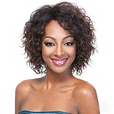 Synthetische Haare Perücken Locken Afro-amerikanische Perücke Kappenlos Karnevalsperücke Halloween Perücke Kurz Braun