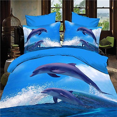 Poplun Cover Sets 3D (slučajni uzorak) 3 komada Reactive Print 1pc duvet Cover 2kom Shams