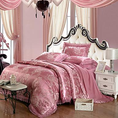 סטי שמיכה פרחוני 4 חלקים 100% טנסל ג'אקארד 100% טנסל כריות מיטה 2 יחידות כרית מיטה יחידה 1 סדין יחידה 1