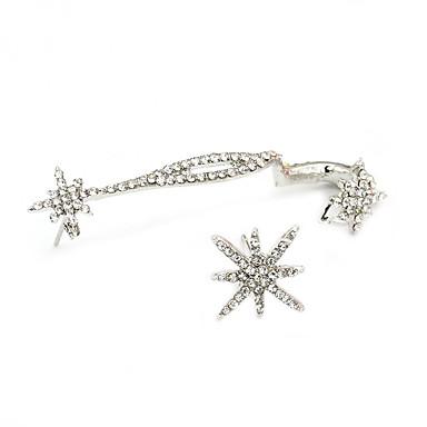 Femme Poignets oreille Personnalisé Mignon Soirée Décontracté Décalage Mode Strass Imitation Diamant Alliage Flocon de Neige Bijoux Argent