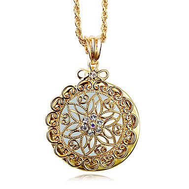 נשים שרשראות תליון חיקוי יהלום Round Shape נחושת אבן נוצצת מצופה פלטינום ציפוי זהב יהלום מדומה אופנתי וינטאג' סגנון בוהמיה סטייל פאנקלבן