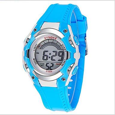 SYNOKE Kinder Sportuhr Armbanduhr digital Alarm Kalender Chronograph Wasserdicht leuchtend LCD Caucho Band Blau