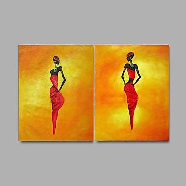 handbemalte abstrakte Ölgemälde 2 Stück / Set Wandkunst mit gestreckten Rahmen