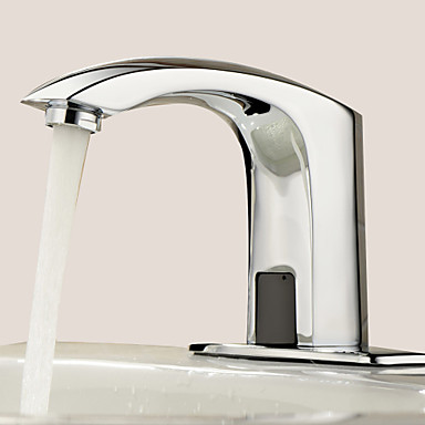Bathroom Sink Faucet - Touch/Touchless Chrome Centerset One Hole Hands free One Hole