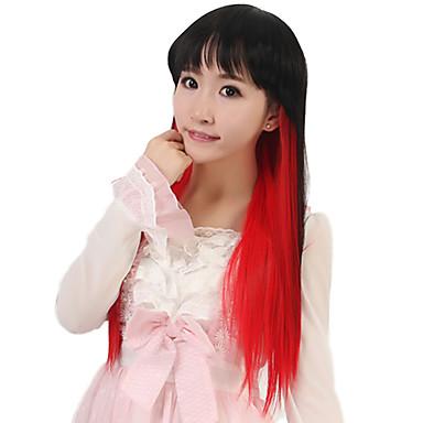 a nők hosszú egyenes szintetikus haj paróka cosplay fekete keverék piros hőálló