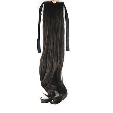 A Clipser Ondulation naturelle Queue-de-cheval Attaché Pièce de cheveux Extension des cheveux Noir