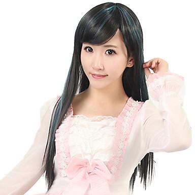kvinner lang rett syntetisk hår parykk cosplay svart blanding lys grønn varmebestandig