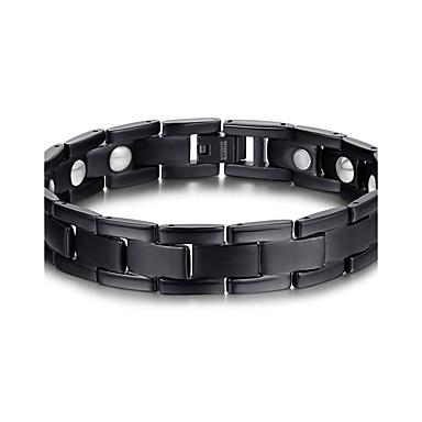 abordables Bracelet-Chaînes Bracelets Bracelet Magnétique Homme Acier au titane Européen Mode initiale Bracelet Bijoux Noir pour Regalos de Navidad