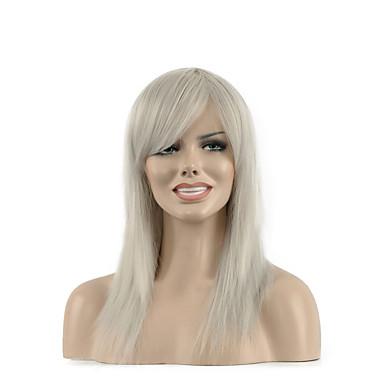 natürliche lange weiße Farbe beliebte synthetische Perücke für Frau
