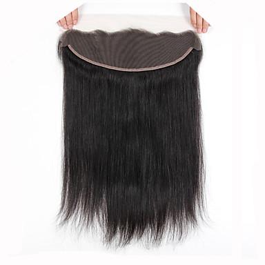 SloveHair Egyenes Csipke eleje 100% kézi csomózású Svájci csipke Emberi haj Ingyenes rész Közel rész 3. rész Side Part