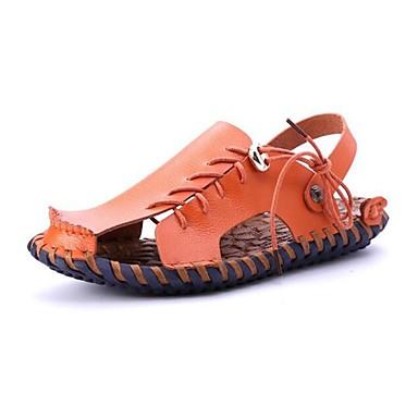 Hombre Zapatos Cuero de Napa Primavera / Verano / Otoño Confort Tacón Plano Blanco / Negro / Marrón