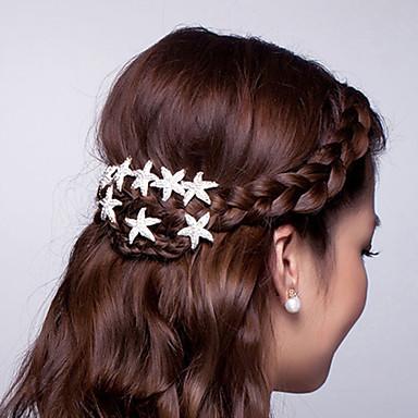Quente prato cabelo flor em forma de u abraçadeira starfish cabelo cabelo clasp diamante tiara 10pcs