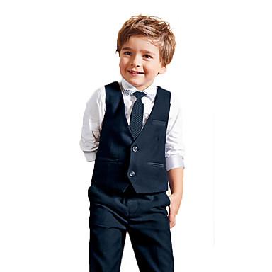 Boys' Solid Clothing Set All Seasons Long Sleeves Blue