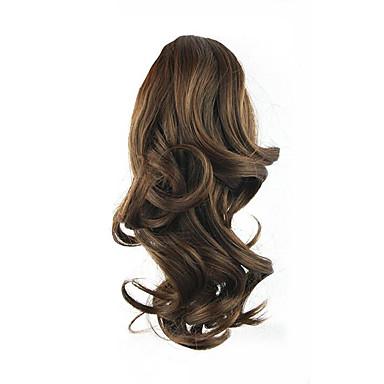 Correa Rizado Coletas Elástico Pedazo de cabello La extensión del pelo 14 pulgadas Marrón