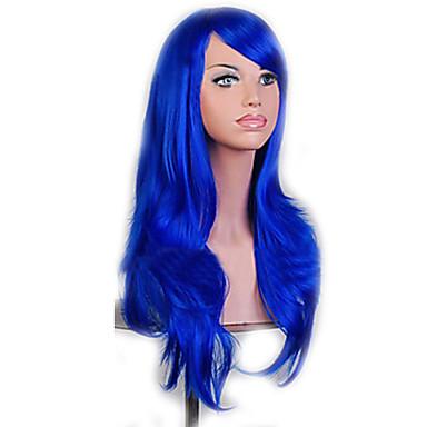 Γυναικείο Συνθετικές Περούκες Χωρίς κάλυμμα Φυσικό Κυματιστό Μπλε κοστούμι περούκα φορεσιά περούκες
