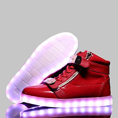 Damen Schuhe Leder Frühling Herbst Komfort Leuchtende LED-Schuhe Flacher Absatz Schnürsenkel Klettverschluss für Sportlich Normal Weiß