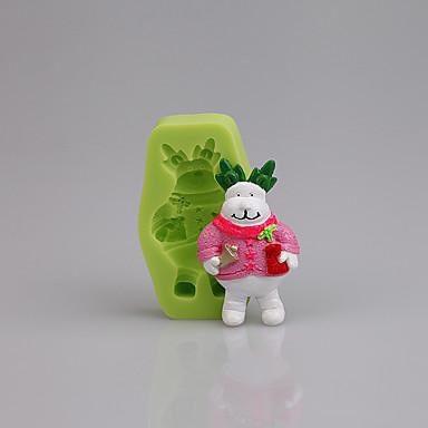 Weihnachtskuchen verzieren Werkzeuge Rudolf Weihnachten Fondant Silikon Schimmel für Cupcake Süßigkeiten Schokolade Farbe zufällig