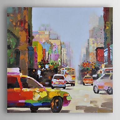 próspera cidade de óleo pintados à mão pintura de paisagem com moldura esticada arts® 7 parede