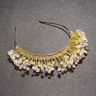 Femme Strass Cristal Laiton Imitation de perle Casque-Mariage Tiare 1 Pièce