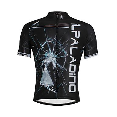 ILPALADINO Herre Kortærmet Cykeltrøje Mode Cykel Trøje Toppe, Åndbart Hurtigtørrende Ultraviolet Resistent 100% Polyester / Elastisk / Refleksbånd / Svedreducerende
