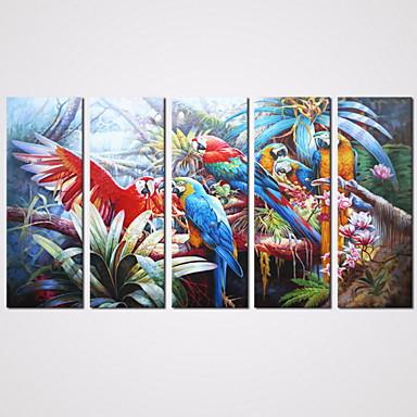 L ו-scape בעלי חיים מודרני ריאליסטי סגנון ארופאי,חמישה פנלים בד אופקי דפוס דקור קיר For קישוט הבית