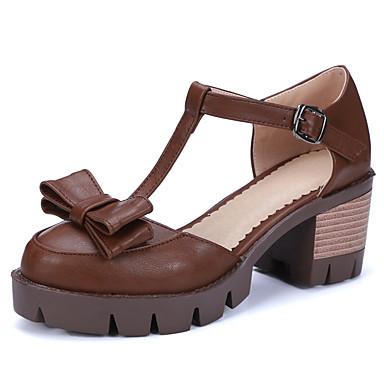 Damen Schuhe Künstliche Mikrofaser Polyurethan PU Frühling Sommer Pumps High Heels Blockabsatz Runde Zehe Schleife Schnalle Für Hochzeit