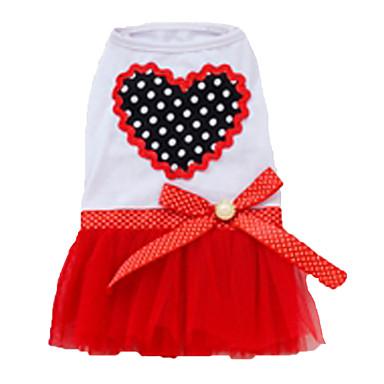 Σκύλος Φορέματα Ρούχα για σκύλους Καρδιές Βυσσινί Κόκκινο Ροζ Στολές Για κατοικίδια