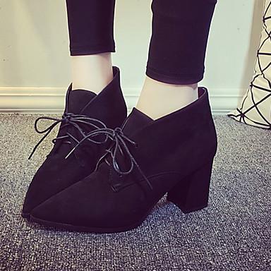 Chaussures Laine synthétique Hiver boîtes de Combat Bottes Gros Talon Bottine/Demi Botte Elastique Pour Décontracté Noir Marron