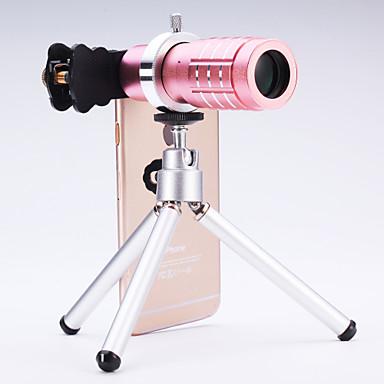 universal 12 × teleskop linse til mobiltelefoner iphone / samsung sølv / guld / rosa / sort