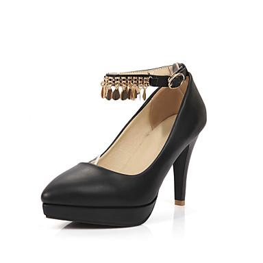 Sko-PU-Tykk hæl-Hæler / Spiss tå-høye hæler-Kontor og arbeid / Fritid-Svart / Rosa / Hvit