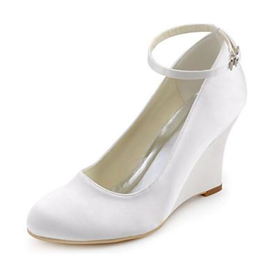 Mujer Zapatos Satén Elástico Primavera / Otoño Tacones Tacón Cuña Hebilla Blanco / Boda / Fiesta y Noche / Vestido / Fiesta y Noche