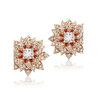 Boucles d'oreille goujon Zircon Plaqué or Alliage Mode Forme de Fleur Or Rose Bijoux Mariage Soirée Décontracté