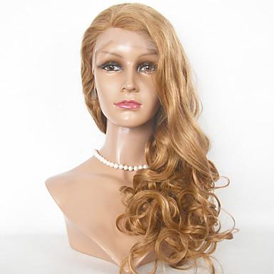 Ekte hår Blonde Forside Parykk Krop Bølge 130% tetthet 100 % håndknyttet Afroamerikansk parykk Naturlig hårlinje Ombre-hår Kort Medium
