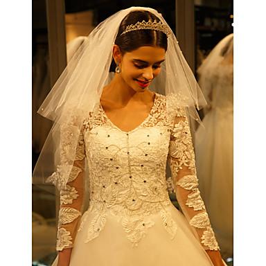 Hochzeitsschleier Einschichtig Ellbogenlange Schleier Spitzen-Saum Tüll Spitzen Eifenbein