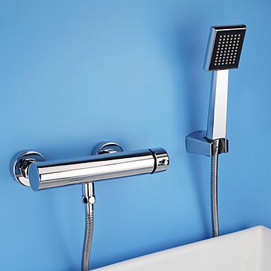 Moderne Modern Nur Dusche Verbreitete Keramisches Ventil Zwei Löcher Einzigen Handgriff Zwei Löcher Chrom, Duscharmaturen