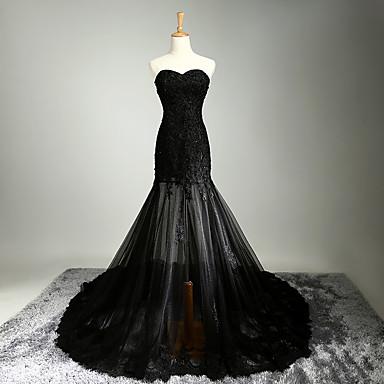 A-Linie Sweetheart Kirchen Schleppe Satin Tüll Formeller Abend Kleid mit Perlenstickerei Applikationen durch TS Couture®