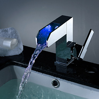 עכשווי רכוב על סיפון מפל מים LED with  שסתום קרמי חור אחד חור ידית אחת אחת for  כרום , חדר רחצה כיור ברז