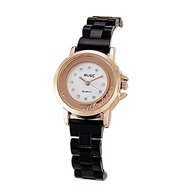 לנשים שעוני שמלה שעוני אופנה יהלוםSimulated שעון קווארץ שעונים יום יומיים חיקוי יהלום משובץ זהב ורוד סגסוגת להקה וינטאג' שחור לבן לבן שחור